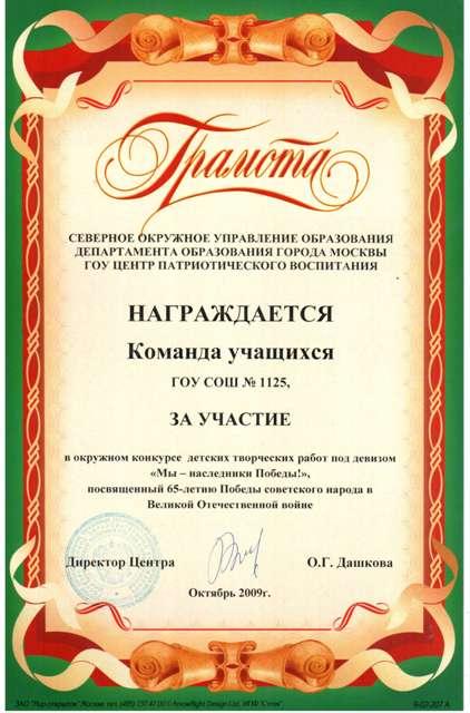Подписанные грамоты за победу в конкурсе